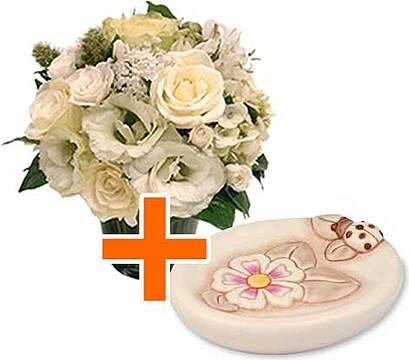 Portasapone thun con bouquet di fiori chiari - Linea bagno thun ...