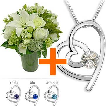Collana con Swarovski Elements e bouquet di fiori chiari